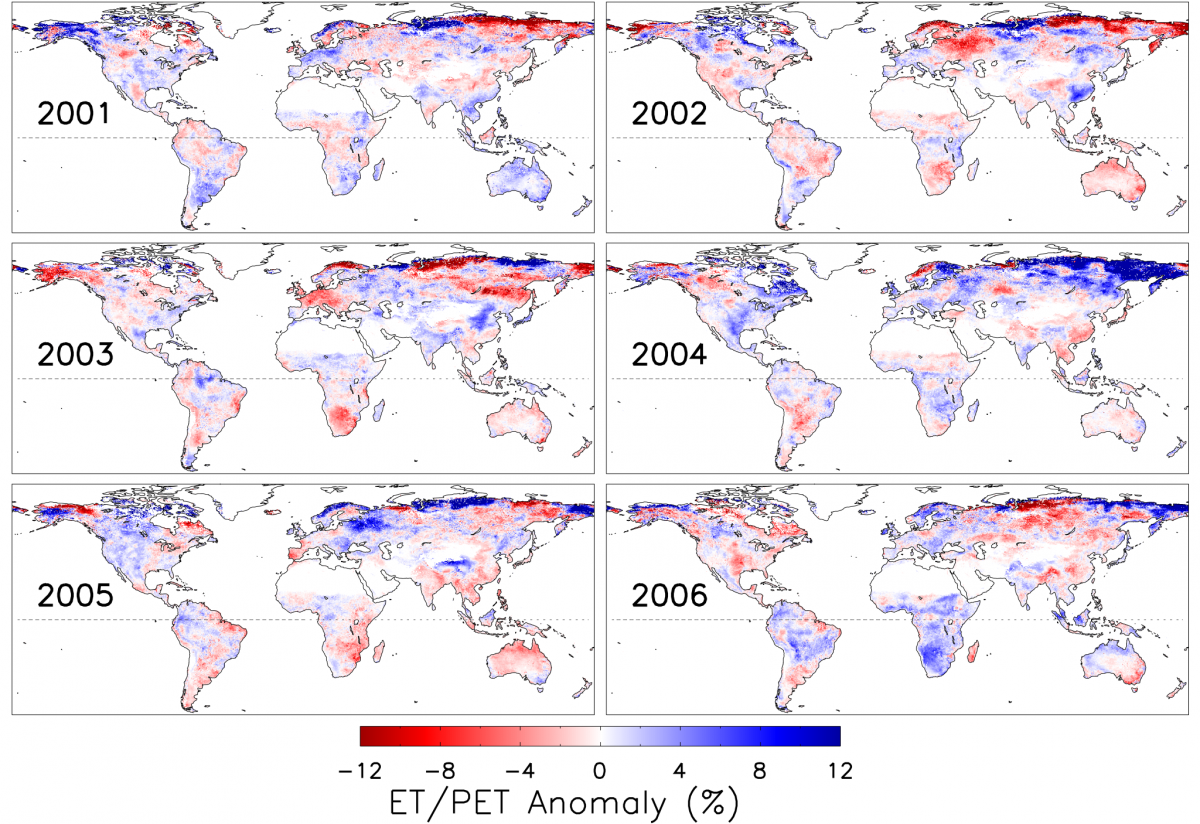 Global ET/PET ratio anaomalies (2001-2006) relative to the average ET/PET over 2000-2006
