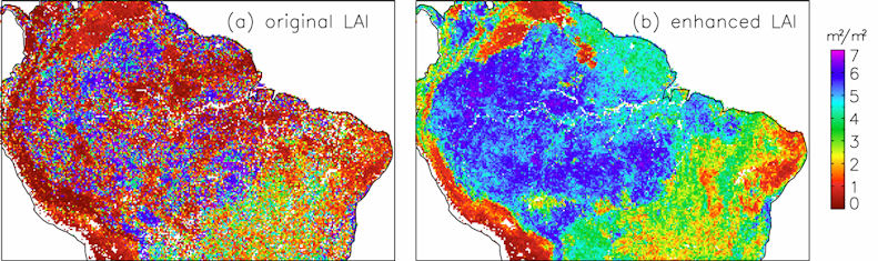 Figure 2. The 8-day composite leaf area index (LAI) in Amazon region for the 8-day period 081 (March 21–28) in 2001 for (a) the original with no temporal interpolation of the LAI and (b) the temporally interpolated LAI. (Mu et al., 2007 Remote Sensing of Environment, in press; Zhao et al., 2005)
